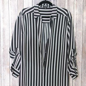 Express Black Striped Button Down Shirt Dress S